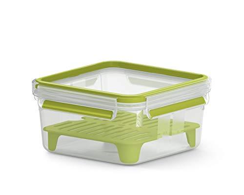Emsa Clip&Go N1071700 - Sandwichera XL (capacidad: 1,3 litros, cuadrada, incluye rejilla),...