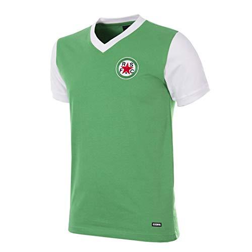 Copa Camiseta de fútbol Retro de los años 70 con Cuello en V, diseño de Estrella roja, Hombre, Camiseta Retro de fútbol con Cuello en V, 722, Verde, XXL