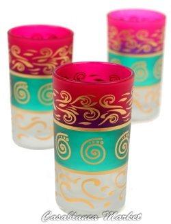 Casablanca Market Moroccan Berber Tea Glasses, Pink/Green/White, Set of 6