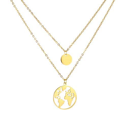 AFSTALR Weltkugel Goldkette mit Runden Plättchen Damen Zweireihige Kette mit Kreis Anhängern