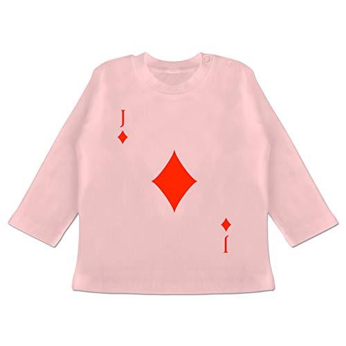 Karneval und Fasching Baby - Karo Bube Kartenspiel Karneval Kostüm - 3/6 Monate - Babyrosa - Kartenspiel - BZ11 - Baby T-Shirt Langarm
