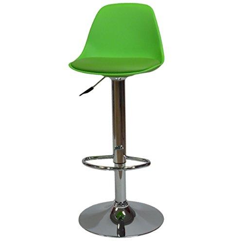 La Seggiola Fruit,  Art.550, Sgabello Cromato Con Alzo a Gas, Colore Verde, Seduta in Polipropilene E Cuscino in Ecopelle