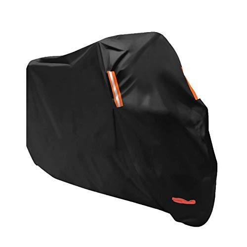 Tokept All-Weather Motorcycle Cover-Heavy Duty Extra Large Black for 108 Inch Motorcycles Like Honda, Yamaha, Suzuki, Harley-ONE YEAR WARRANTY Black Iron Cross Saddlebags