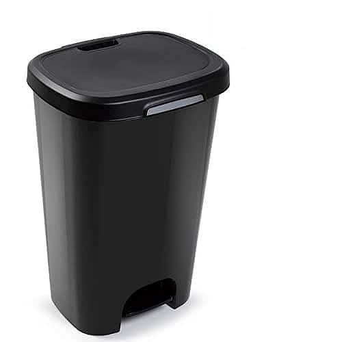 CABLEPELADO Cubo Basura plastico Apertura Pedal 50 litros (Negro)