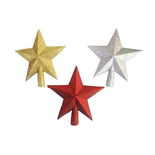 NUOBESTY Weihnachtsbaumspitze, Sterne, Kunststoff, Stern, Weihnachtsbaumspitze, Glitzer, Stern, Dekoration, Ornamente goldfarben, silberfarben, rot, 3 Stück, plastik, siehe abbildung, 15 * 16cm