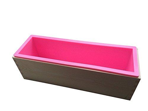 Alytime rechteckige Silikon-Form mit Holzkasten für das Herstellen von Seife, für 1,2kgSeifenmasse rose