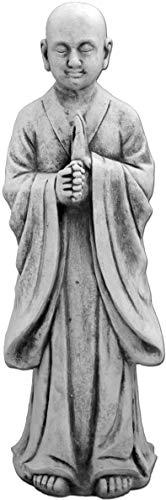 gartendekoparadies.de Massive Steinfigur stehender Mönch Buddha aus Steinguss frostfest (Grau)