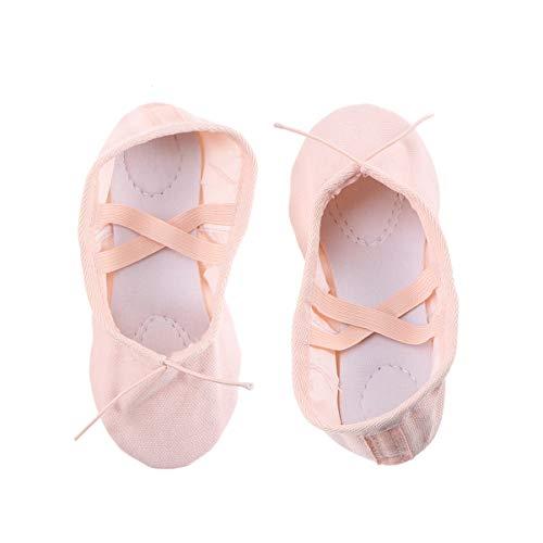BESPORTBLE Zapatillas de Ballet para niñas niños Zapatillas clásicas de Lona con Suela Dividida Zapatos de Yoga Pisos Tamaño 28 Carne Rosa