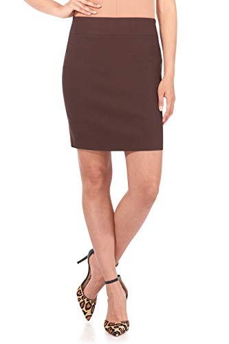 Rekucci Women's Ease Into Comfort Above The Knee Stretch Pencil Skirt 19 inch (X-Large,Brown)