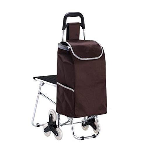Silla de tijera plegable carro de compras del coche con la silla del taburete portátil varilla de empuje del coche de aleación de aluminio con silla Subir las compras del coche ( Color : Grey )