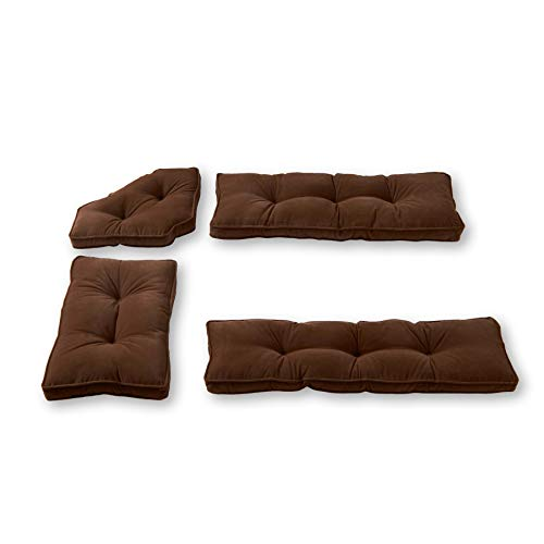 Greendale Home Fashions Hyatt 4-Piece Kitchen Nook Cushion Set, Mocha