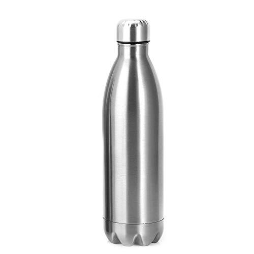 Yosoo Health Gear Bottiglia d'Acqua sottovuoto Argento, Bottiglia d'Acqua isolata in Acciaio Inossidabile, Bottiglia Sportiva a Doppia Parete a Prova di perdite per Escursioni, 1000ml(Argento)