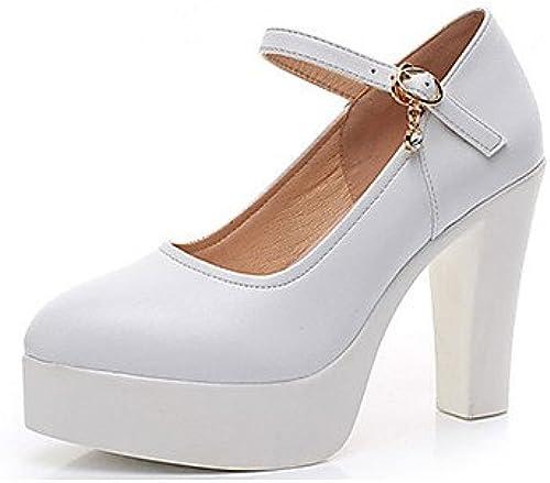 LvYuan-ggx Damen Damen Damen High Heels Pumps Leder Frühling Herbst Pumps Blockabsatz Weiß Schwarz7,5 - 9,5 cm  Gratisversand
