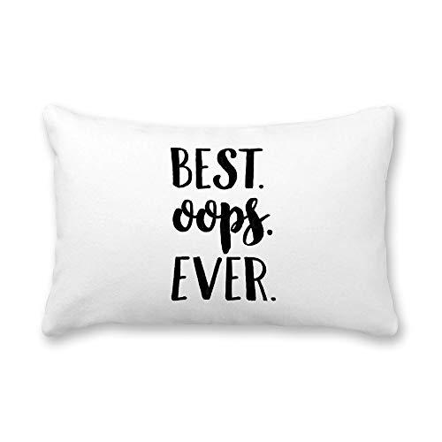 TattyaKoushi Satin Pillow Covers for Hair and Skin Pillowcase with Inspirational Quote, Best Oops Ever Pillow Case Cover 16 x 24 Inch for Bedroom Funny Housewarming Gift