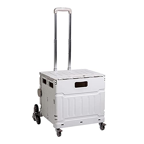 Folding Boot Cart Wheeled Folding Practical Trolley, 75L Large Capacity Shopping Cart, Crate with Telescopic Handle (Color : 8 Rounds)