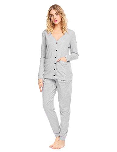 Ekouaer Women's Long Sleeve Sleepwear Soft Cotton Pajama Set