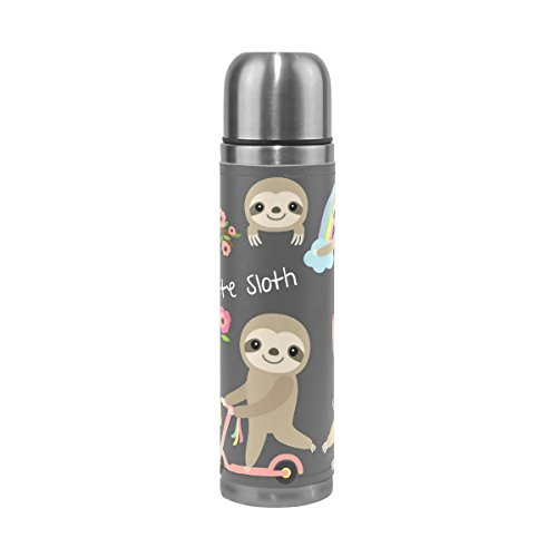 saobao Water Bottle Cute Baby Sloth Stainless Steel Double Wall Vacuum Insulatied Thermos Cup Travel Coffee Mug Genuine Leather Cover Keep Drinks Hot and Cold 17 Oz