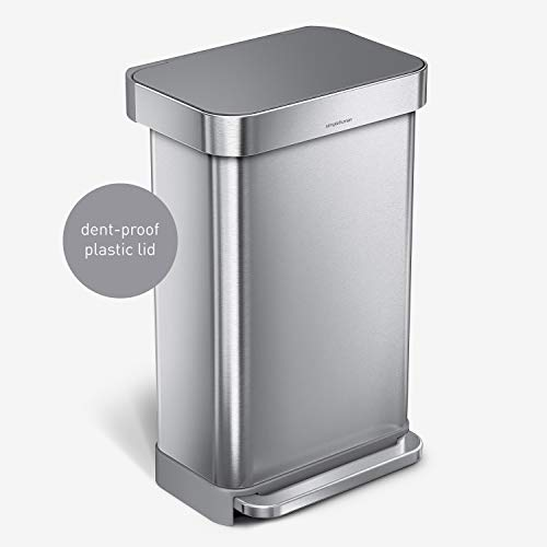 simplehuman 45 Liter Rectangular Hands-Free Kitchen Step Trash Can with Soft-Close, Brushed Stainless Steel with Plastic Lid