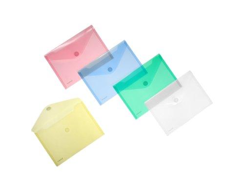 Anon Sichttasche A5quer, transp. farbig sortiert, 10 Stück, je 2 x transparent, blau/grün/gelb/rot
