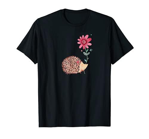 Linda camiseta vintage con diseño de erizo y flores Camiseta