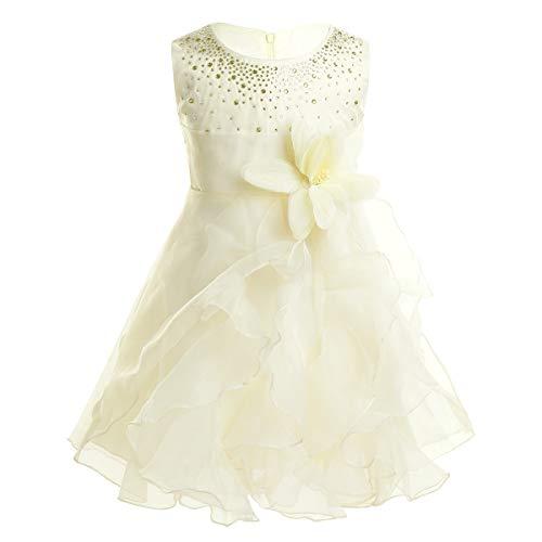 iiniim Baby Mädchen Kleid Prinzessin Kleid Blumenmädchenkleid Festlich Hochzeit Kleid Kleinkind Taufkleid Partykleid Festzug Ivory 86-92