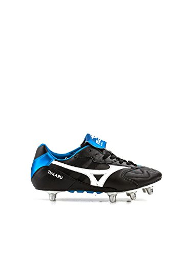 MIZUNO Timaru Bota de Fútbol Caballero, Negro/Blanco/Azul, 42.5