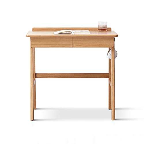 Mesa de Ordenador Moderno Simple Oak Escritorio Multifuncional Escritorio Compacto Estudio de la escritura de la tabla con el agujero del cable, el cajón y la varilla colgante Tocador de madera Escrit