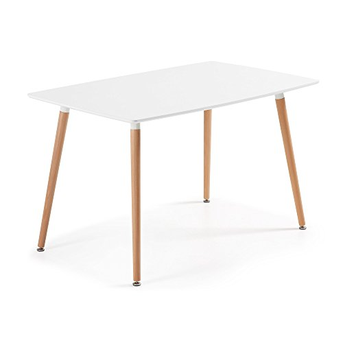 Kave Home - Mesa de comedor WAD rectangular 140 x 80 cm blanco con patas de madera de haya