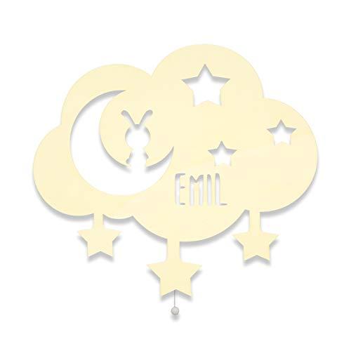 Nachtlicht Babylampe Kinderlampe Nachtlampe Wolke, Mond & Sterne Kinderzimmer-Lampe/Tauf-Geschenk oder zur Geburt/Personalisiert mit Wunschname für Mädchen/Jungen Schlummerlicht [Energieklasse A++]