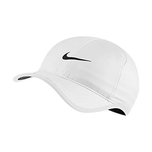 Nike Featherlight Cap Hat, White/White/Black/Black, 1SIZE Unisex-Adult