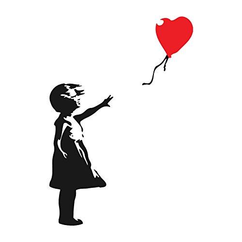 decorsfuk.co Banksy-Mädchen mit Ballon | Art Wand Graffiti Vinyl Aufkleber | Urban Art Fenster, Auto, Laptop Aufkleber - Large - 26x18cm