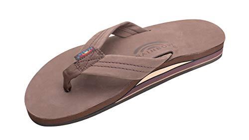 Rainbow Sandals Men's Premier Leather Double Layer with Arch Wide Strap, Expresso, Men's Large / 9.5-10.5 D(M) US