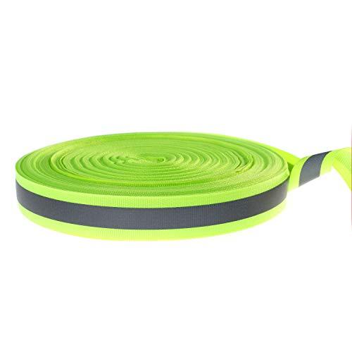 TUKA-i-AKUT 46 Meter x 20mm Reflecterende Band om op te Naaien, 20mm Brede met 10mm Brede Reflector, Hoge Zichtbaarheid Reflector Opnaaistofband, voor Kleding Rugzakken enz. Groen, TKB5080-green