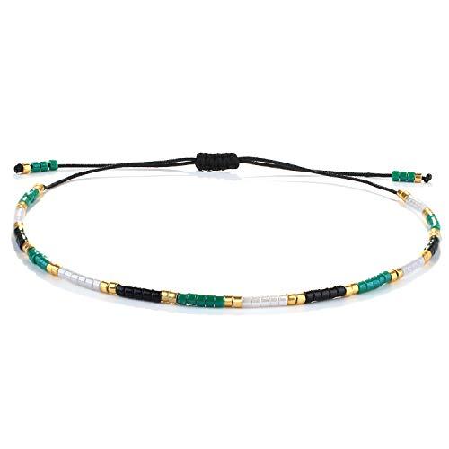 KELITCH Bracelets À Brin De Femmes Bracelets D'amitié De Perlés Miyuki De Bohémien Nouveau Bracelets Arc-en-Ciel De Plage D'été (Vert Noir 08A)