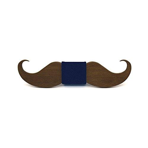 Pajarita de madera Mr. Moustache (bigote). Colección de moda hombre: Fabricado en España por Territorial Wood. Boda y eventos. Regalo Navidad elegante y original. Lazo azul (9 colores más a elegir)