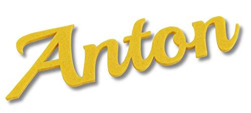 Kreativknoten Filz Namensschriftzug, 5 cm Höhe, in tollen Farben perfekt zum Basteln und Dekorieren (gelb)