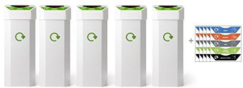 Reco - Papelera de reciclaje (60 L, 5 unidades, incluye 25 pegatinas)