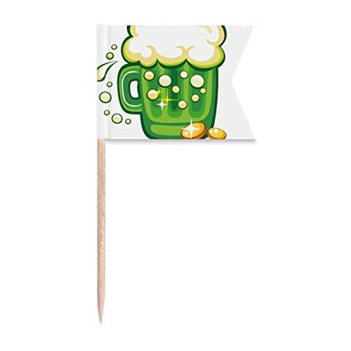 Cuatro hojas trébol cerveza Irlanda San Patricio Palillo banderas etiquetado para fiesta pastel comida queso