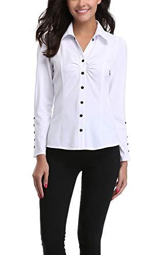 MISS MOLY Women's Fashion Plain Formal Casual Shirts Work Wear Cuff Top Shirt White - XL steampunk buy now online