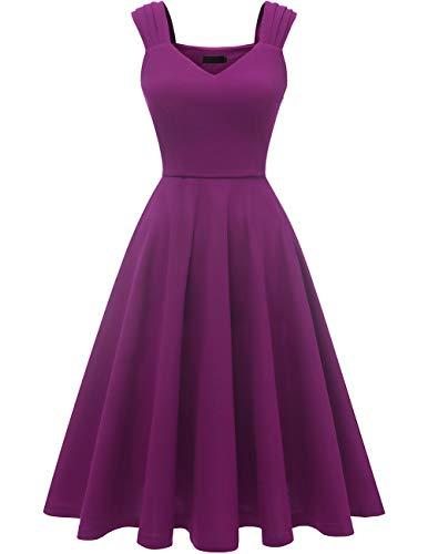 DRESSTELLS Damen 1950er Midi Rockabilly Kleid Vintage V-Ausschnitt Hochzeit Cocktailkleid Faltenrock Purple XL