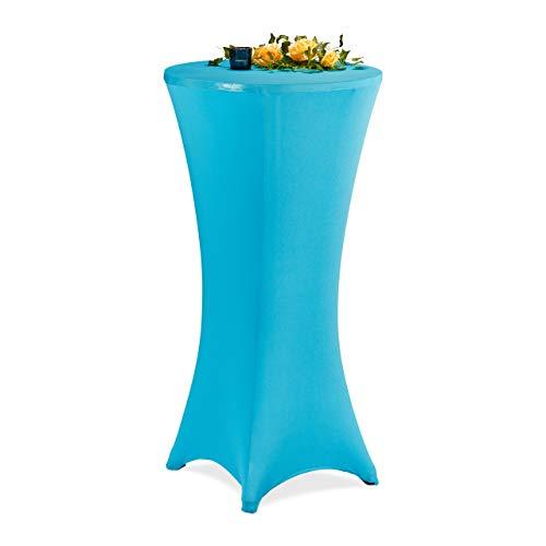 Relaxdays Stehtischhusse, ∅ 60-65 cm, Stretch Tischhusse Bistrotisch, eleganter Stehtischüberzug, waschbar, türkis-blau