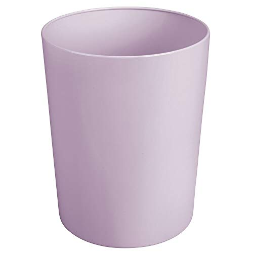 mDesign Round Metal Small Trash Can Wastebasket, Garbage Container Bin for Bathrooms, Powder Rooms, Kitchens, Home Offices - Durable Steel - Light Purple