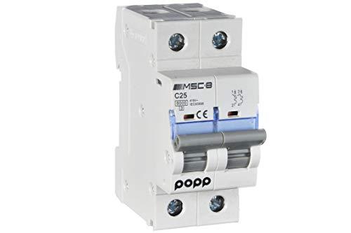 POPP Interruptor Automático Magnetotérmico industrial CURVA C 1P 2P 3P + 6A 10A 16A 20A 25A 32A 40A 50A 63A … (2P, 25A)