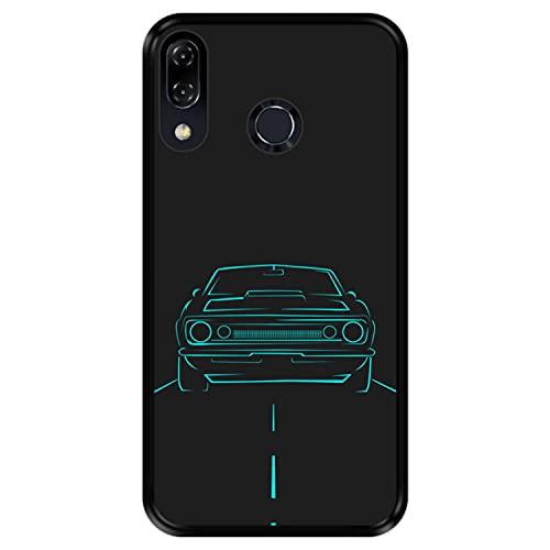 Hapdey Funda Negra para [ ASUS Zenfone 5 ZE620KL - 5Z ZS620KL 2018 ] diseño [ Coche rodando por la Carretera ] Carcasa Silicona Flexible TPU