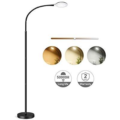 LED Floor Lamp, LITOM Standing Lamp 5 Brightness Levels & 3 colors, Flexible Gooseneck Touch Control Reading Standing Light for Living Room, Bedroom, Home, Office and Dorm