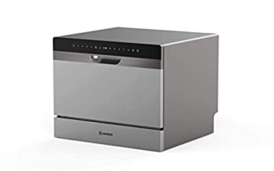 22? Compact Countertop Dishwasher, 5 Washing Programs, 6 Large Place Setting Rack, Two Installation Methods Countertop or Built-in, Portable Dishwasher with Child Lock, Whole Body Stainless Steel