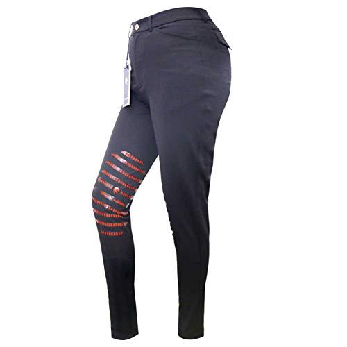 LGMO Hípica Pantalones para Las Mujeres, silicio Asiento de Conductor Medias Pantalones Ecuestre, Apretado Noble al Aire Libre Ocasional (2XS-XL) Black-XL