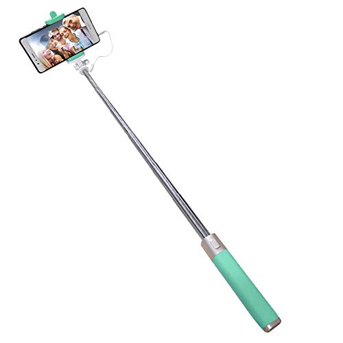 Coopay Bastone Selfie Universale con Filo Cable Compatible with Huawei P Smart P10 P20 P30 Lite Portatile Selfie Stick [No Batteria e Bluetooth] Regolabile Telescopico Autoritratto Monopiede, Verde