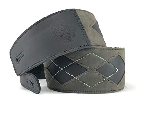 """Anthology Gear""""Everett"""" Full Grain Leather Guitar Strap For Electric, Acoustic, and Bass Guitars (Aged Steel/Mint)"""