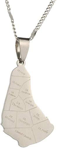 NC134 Mapa de Acero Inoxidable de la Isla de Barbados Collares Pendientes Barbados Maps Charm Jewelry